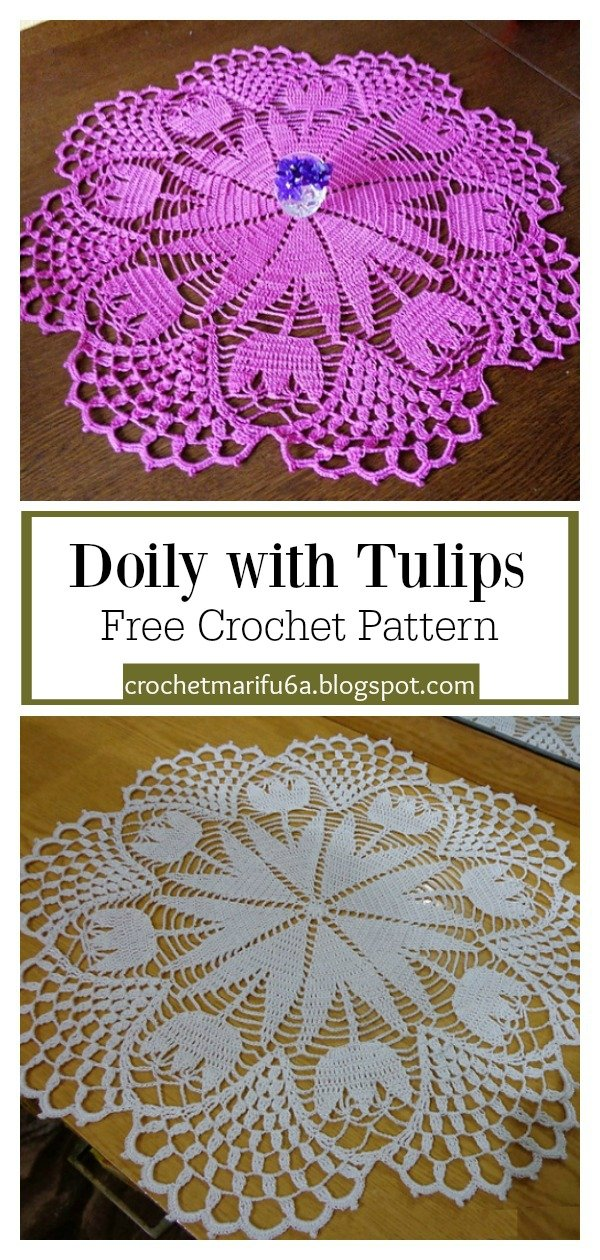 Doily with Tulips Free Crochet Pattern