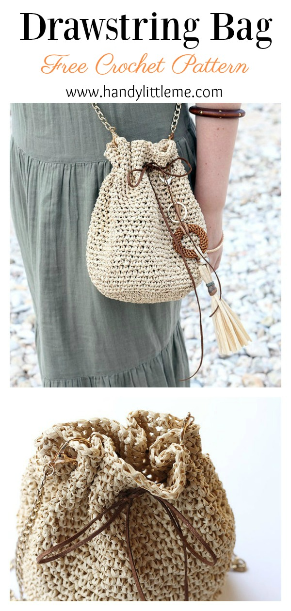 Drawstring Bucket Bag Free Crochet Pattern