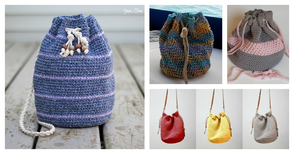7 Drawstring Bucket Bag Free Crochet Pattern