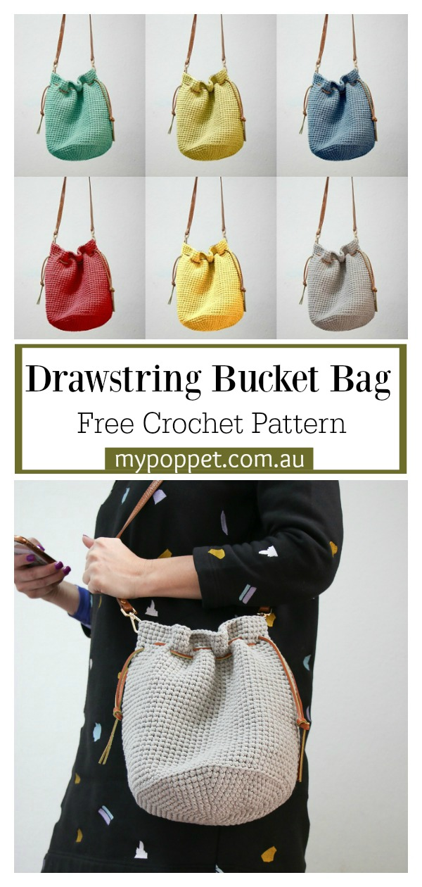 Drawstring Bucket Bag Free Crochet Pattern