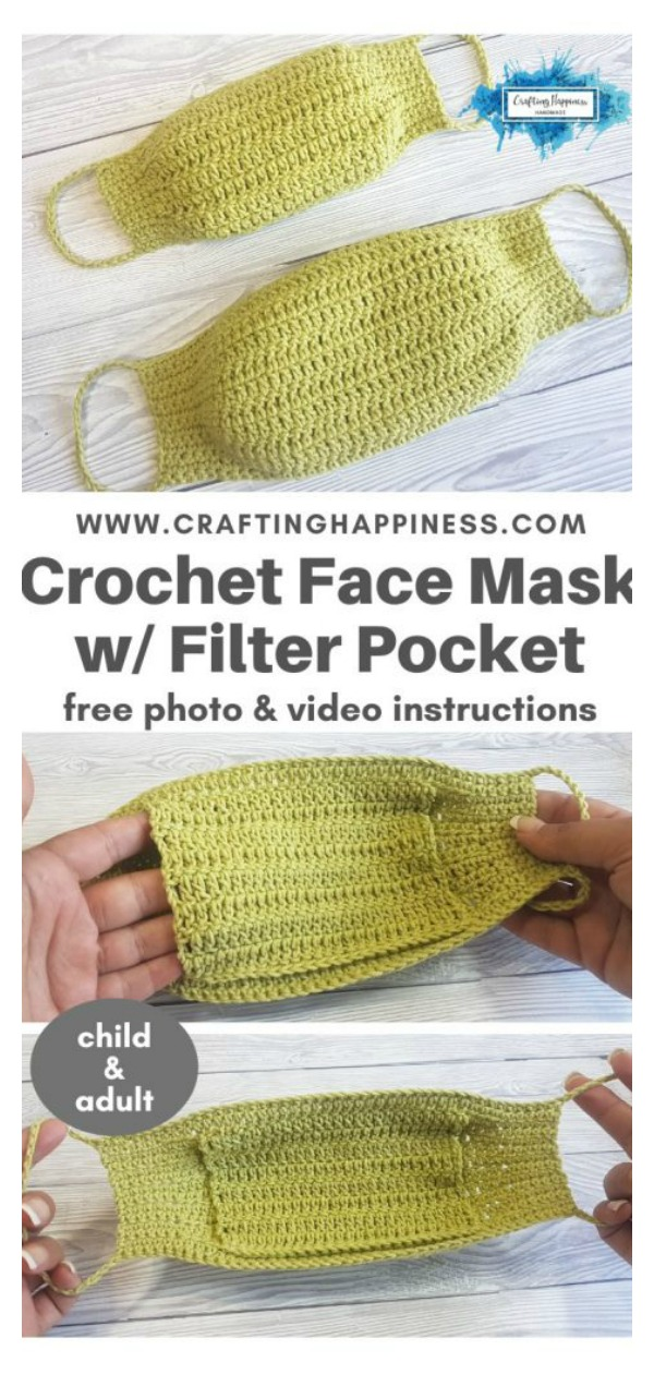 Face Mask With Filter Pocket (child & Adult) Free Crochet Pattern and Video Tutorial