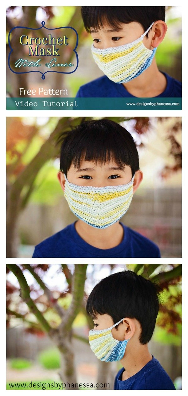 Face Mask with Liner Free Crochet Pattern and Video Tutorial
