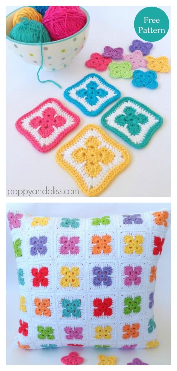 Fleur Square Motif Free Crochet Pattern