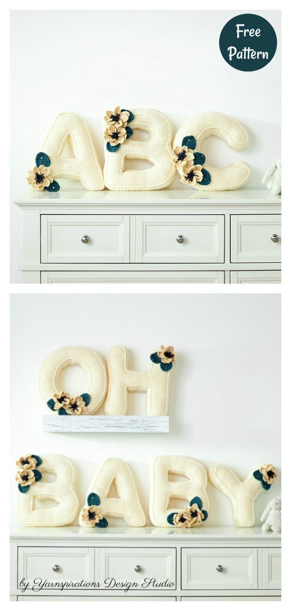 Flower Alphabet Letter Pillow Free Crochet Pattern