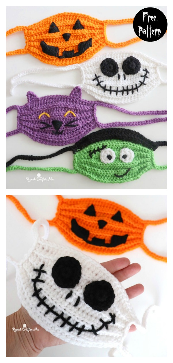 Halloween Face Masks Free Crochet Pattern