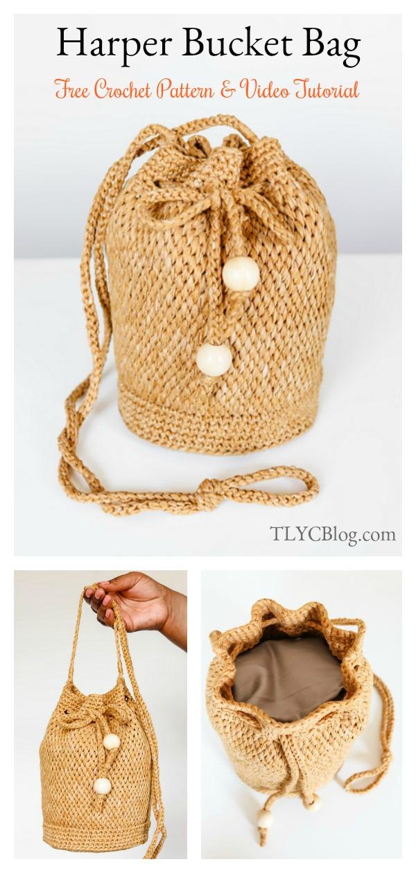 Harper Bucket Drawstring Bag Free Crochet Pattern