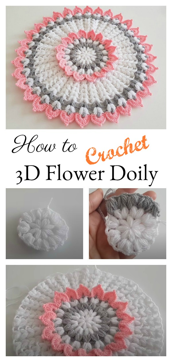 How to Crochet 3D Flower Doily