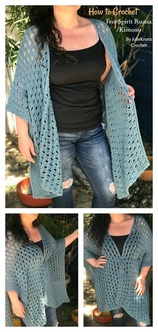 How to Crochet Free Spirit Ruana:Kimono