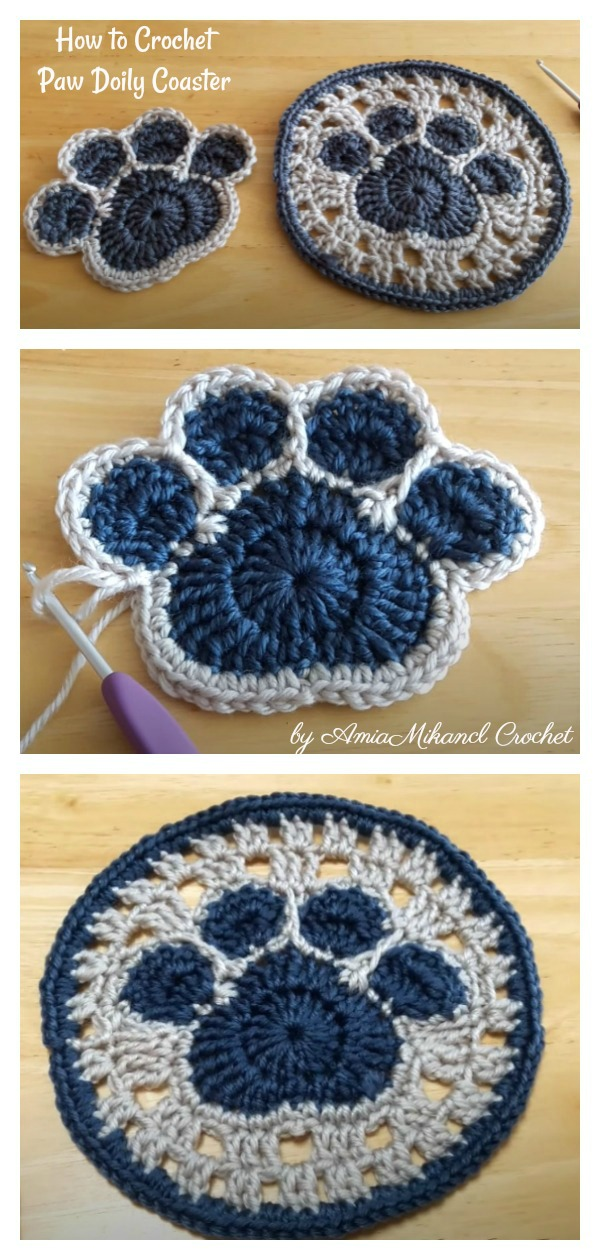 How to Crochet Paw Doily Coaster Video Tutorial