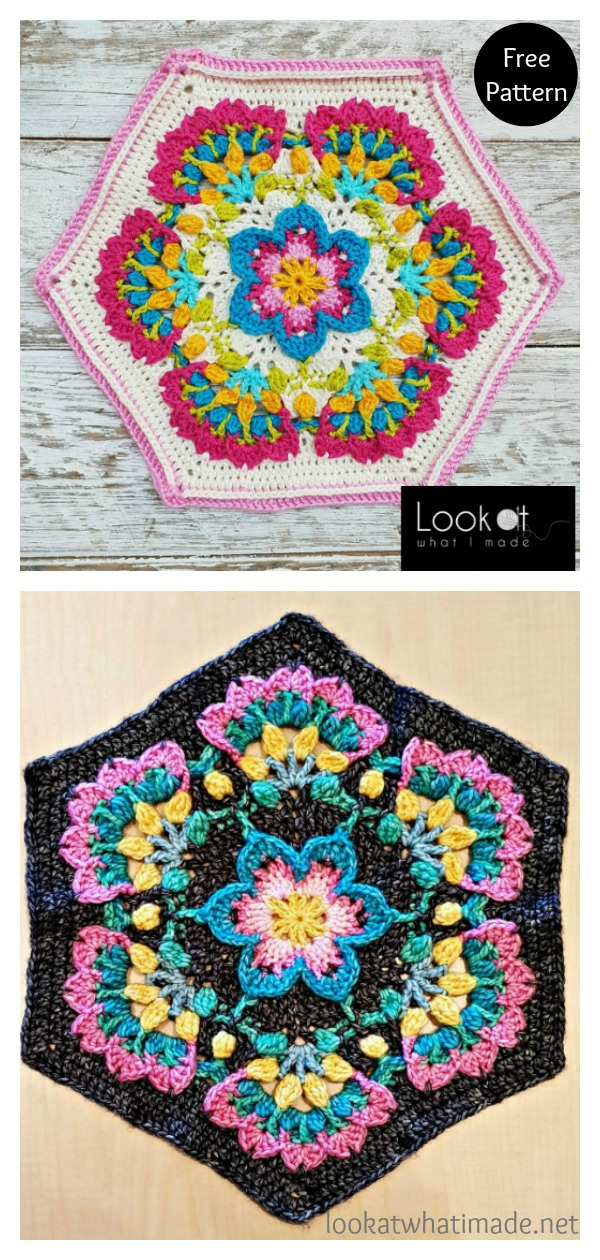 Mary's Memory Flower Mandala Hexagon Free Crochet Pattern