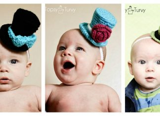 Mini Top Hat Headband Free Crochet Pattern