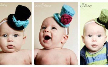 Mini Top Hat Headband Free Crochet Pattern