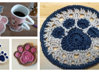 Paw Coaster Free Crochet Pattern and Paid