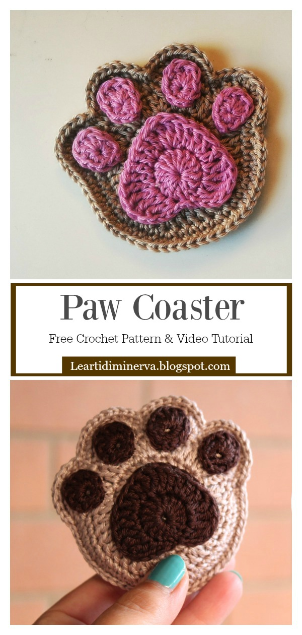 Paw Coaster Free Crochet Pattern and Video Tutorial