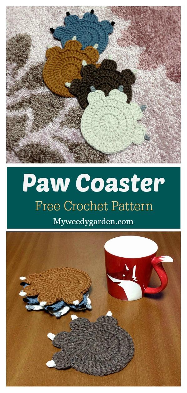 Paw Coaster Free Crochet Pattern