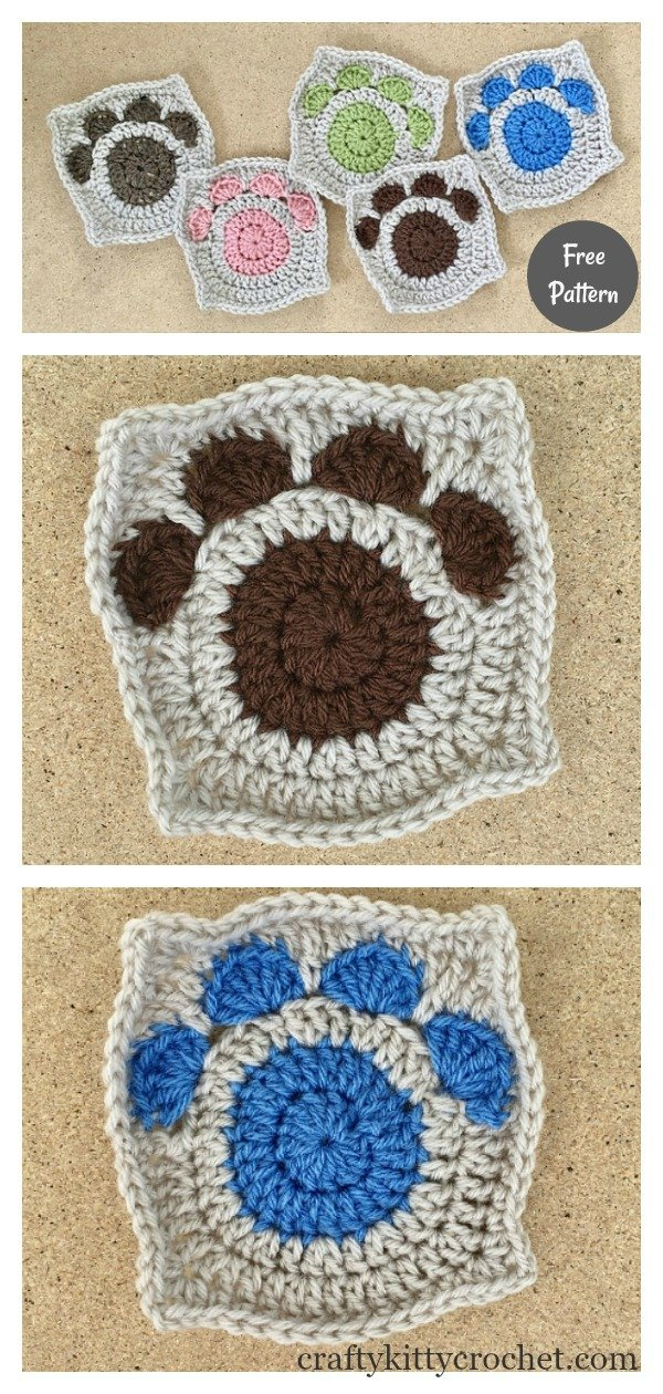 Paw Print Granny Square Free Crochet Pattern