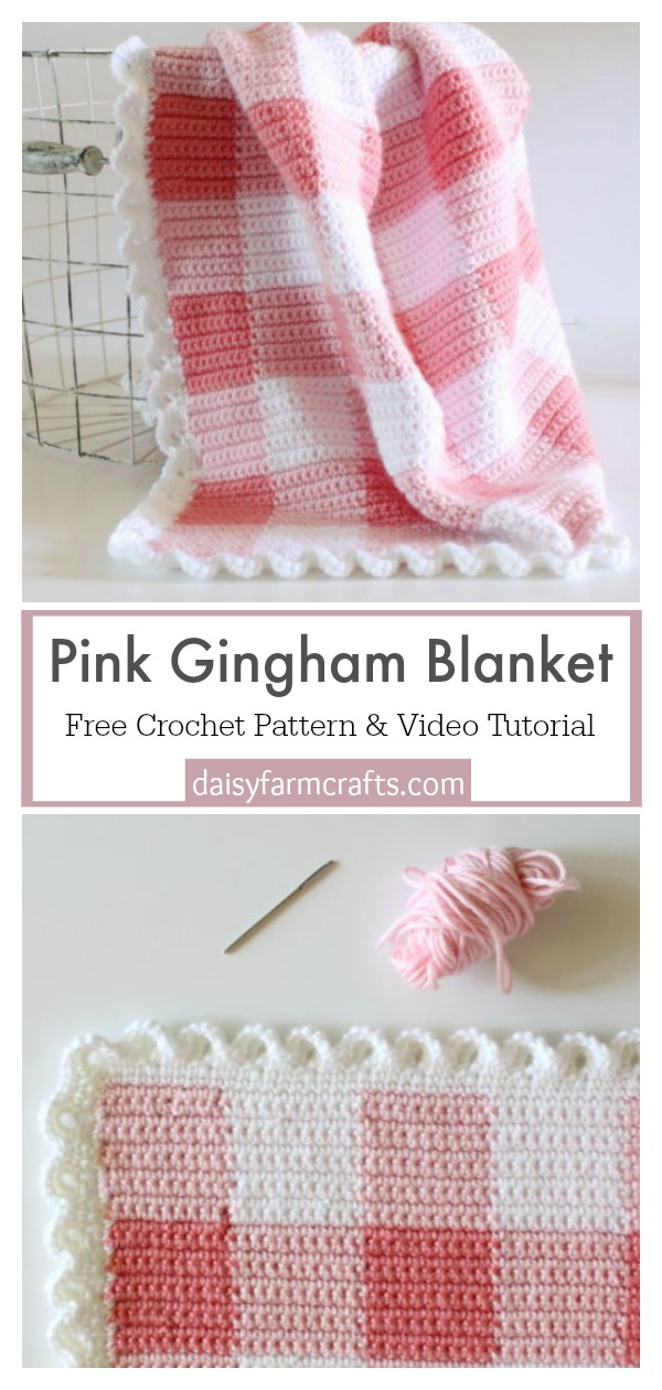 Pink Gingham Blanket Free Crochet Pattern and Video Tutorial