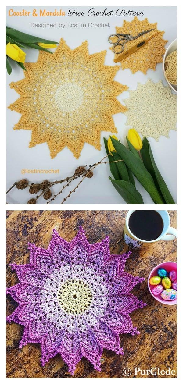 Ray of Sunshine Coaster and Mandala Free Crochet Pattern