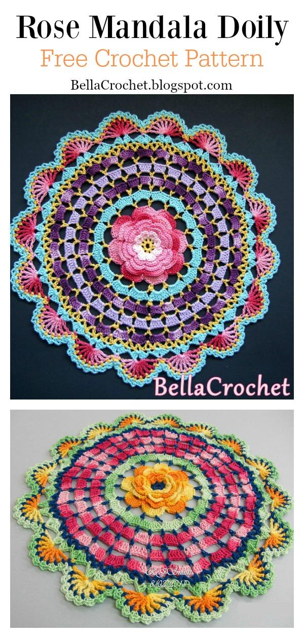 Rose Mandala Doily Free Crochet Pattern