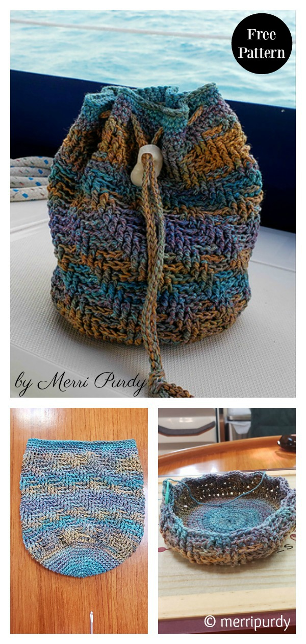 Sand Dollar Beach Drawstring Bag Free Crochet Pattern