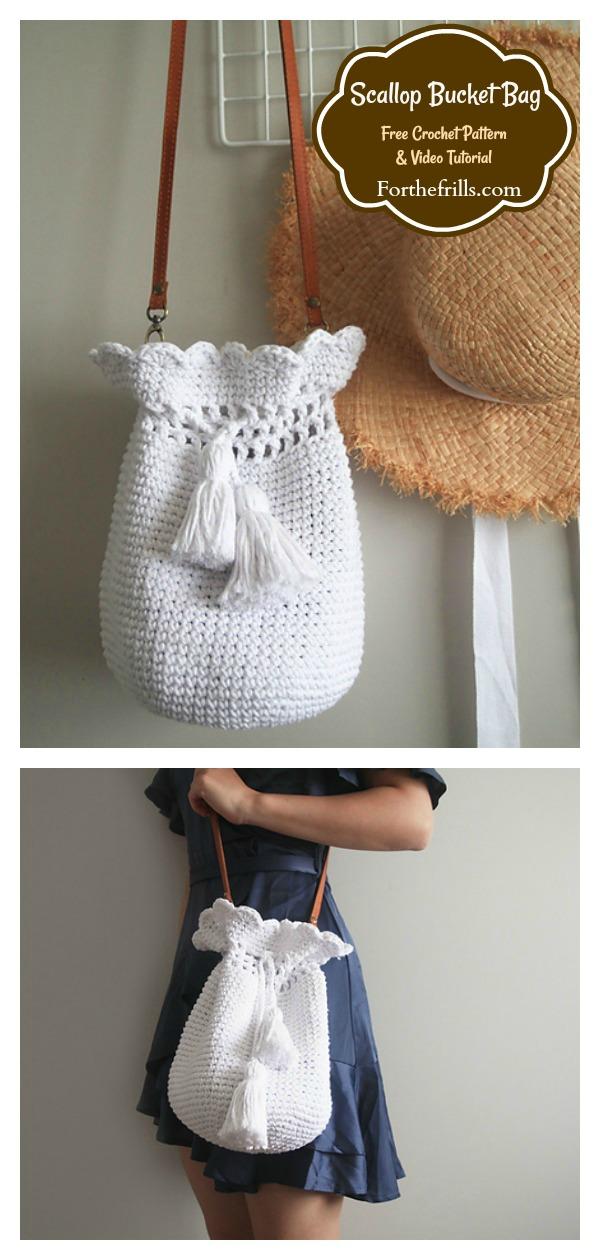 Scallop Drawstring Bucket Bag Free Crochet Pattern