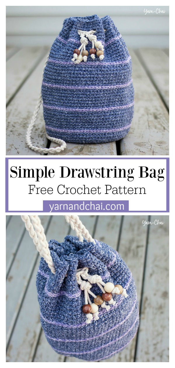 Simple Drawstring Bucket Bag Free Crochet Pattern