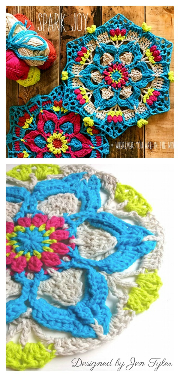 Spark Joy Flower Mandala Hexagon Free Crochet Pattern