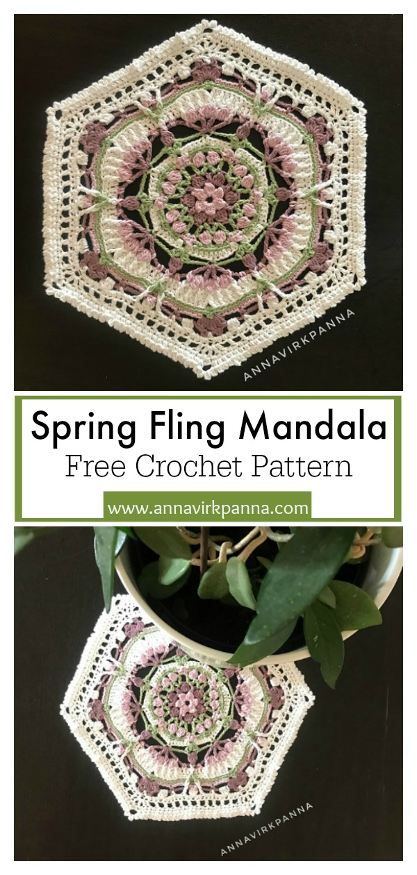 Spring Fling Flower Mandala Hexagon Free Crochet Pattern