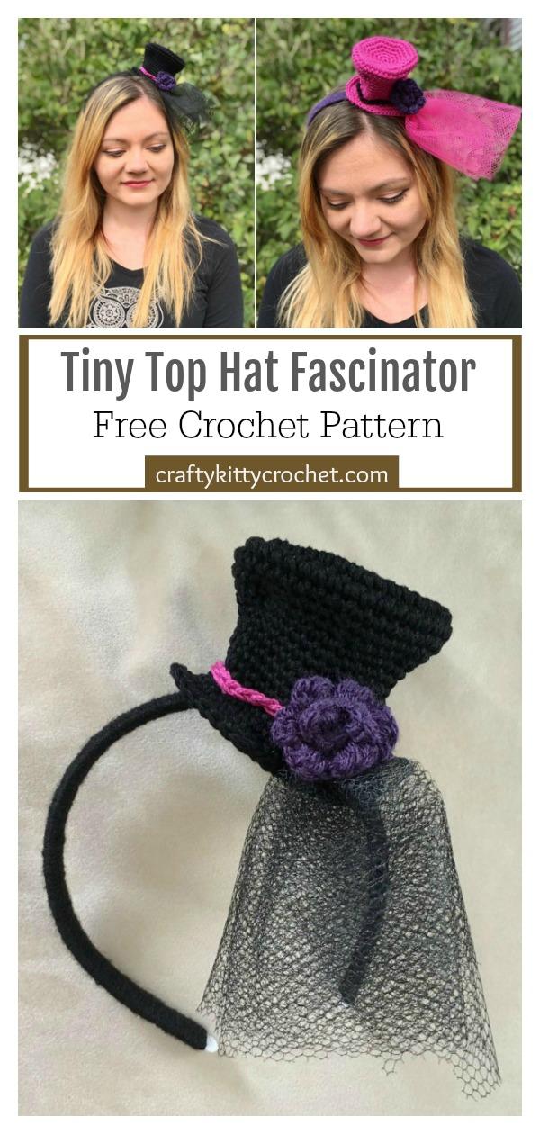 Tiny Top Hat Fascinator Free Crochet Pattern
