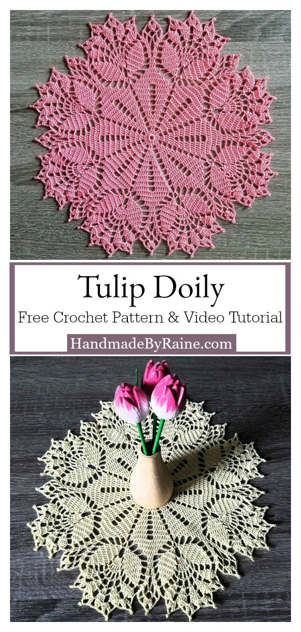 Tulip Doily Free Crochet Pattern and Video Tutorial