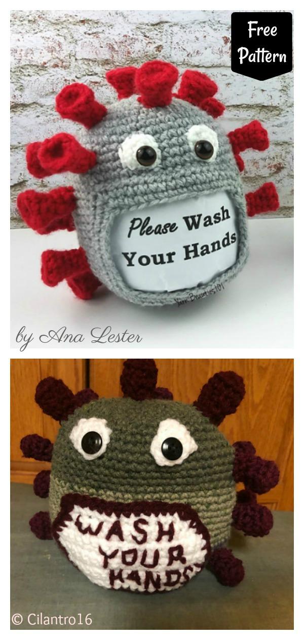 Virus Sign Holder Free Crochet Pattern