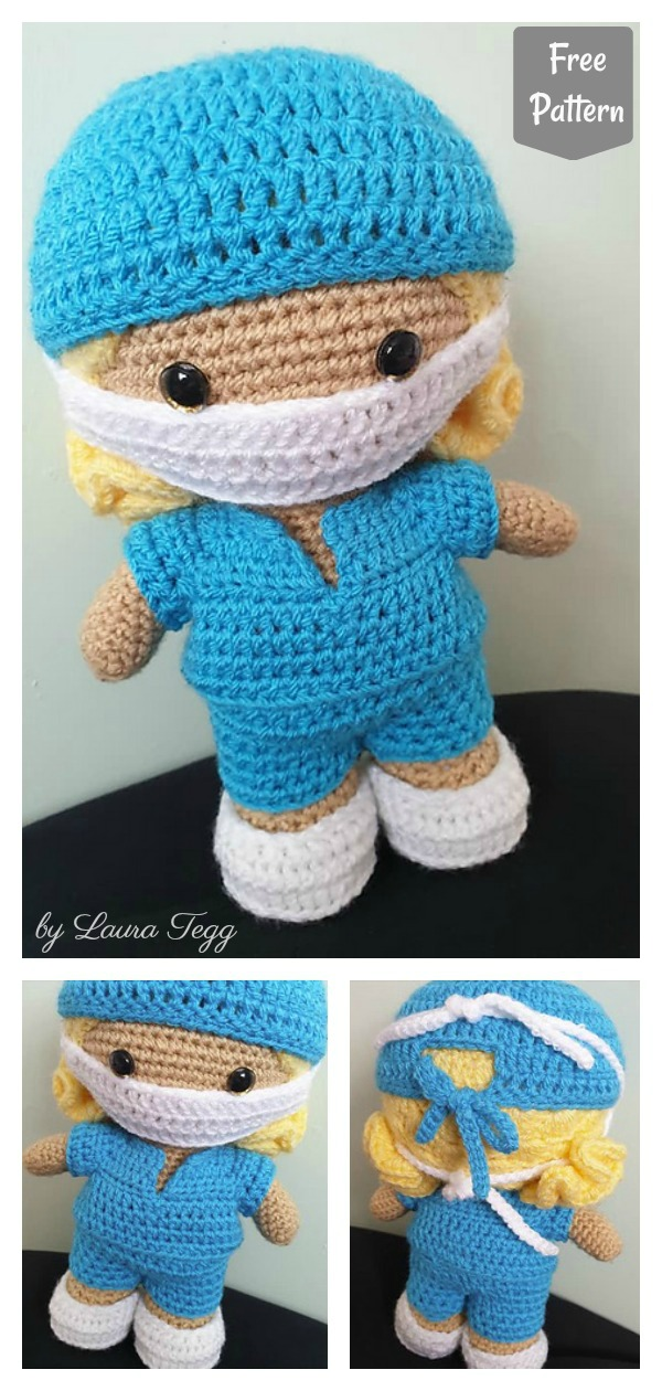 Weebee Doll with Face Mask Free Crochet Pattern