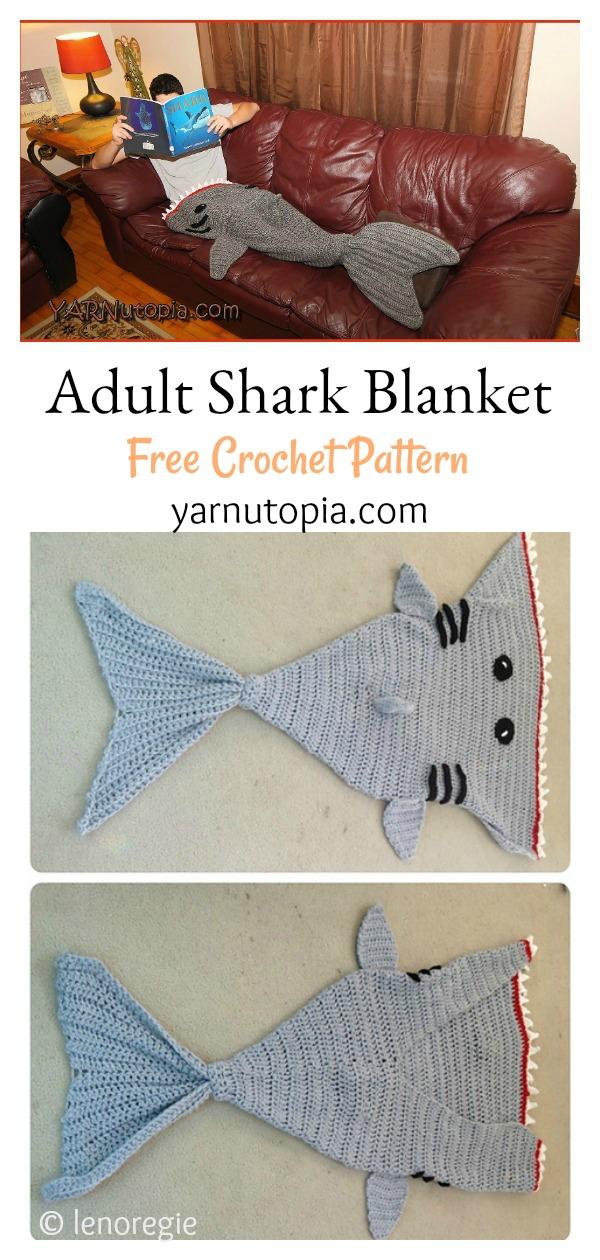 Adult Shark Blanket Free Crochet Pattern