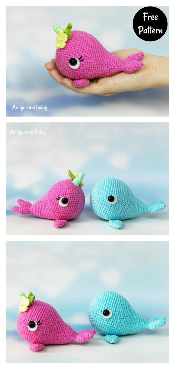 Small amigurumi narwhal pattern whale crochet pattern cute | Etsy | 1260x600