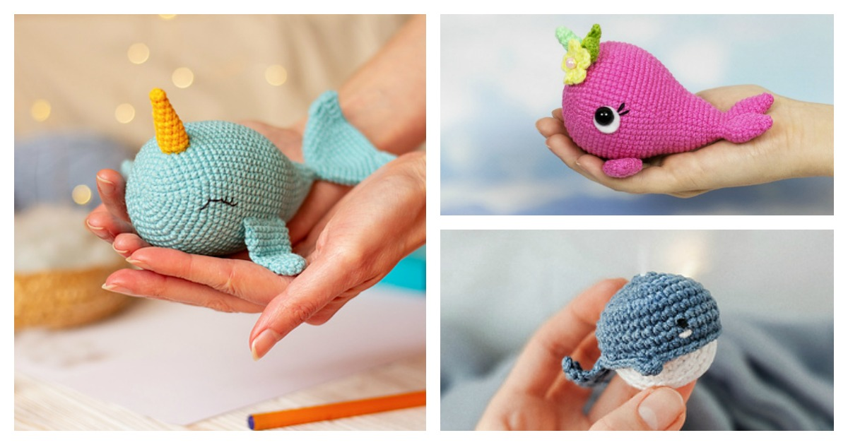 Walden the narwhal (or whale!) amigurumi pattern | hookabee | 630x1200