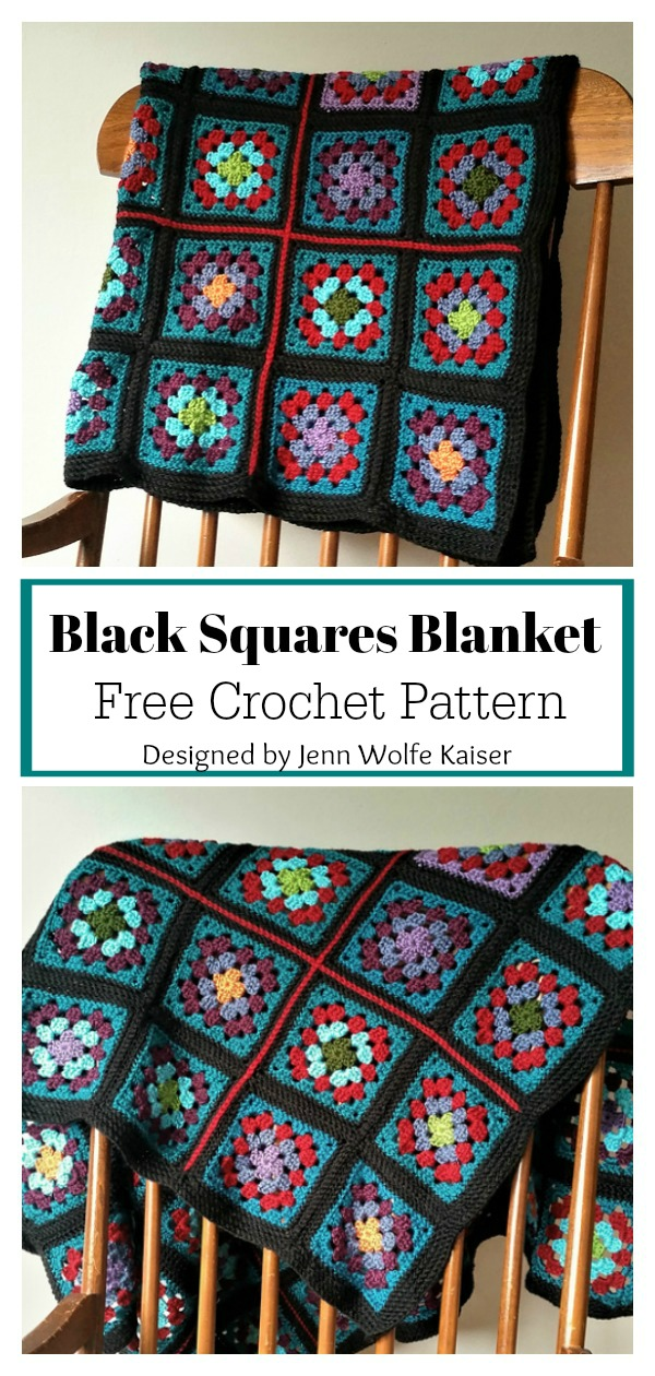 Black Granny Square Blanket Free Crochet Pattern