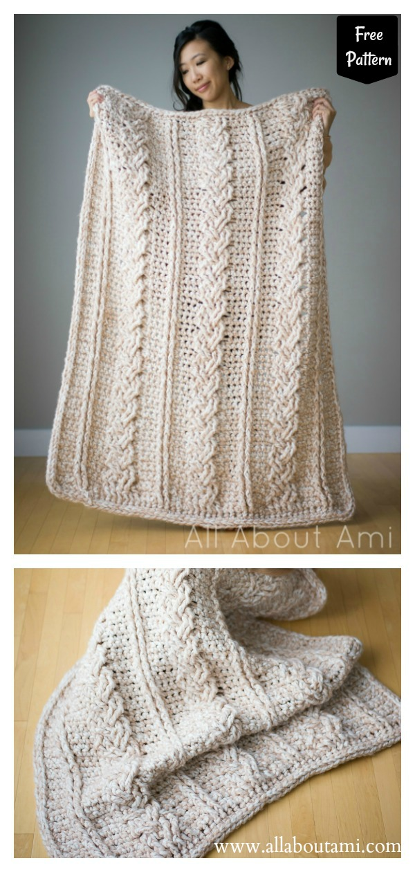 Chunky Braided Cable Blanket Free Crochet Pattern