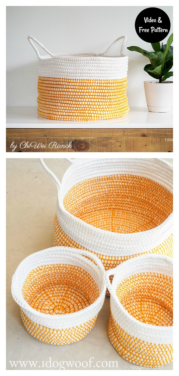 Coiled Basket Free Crochet Pattern and VIdeo Tutorial
