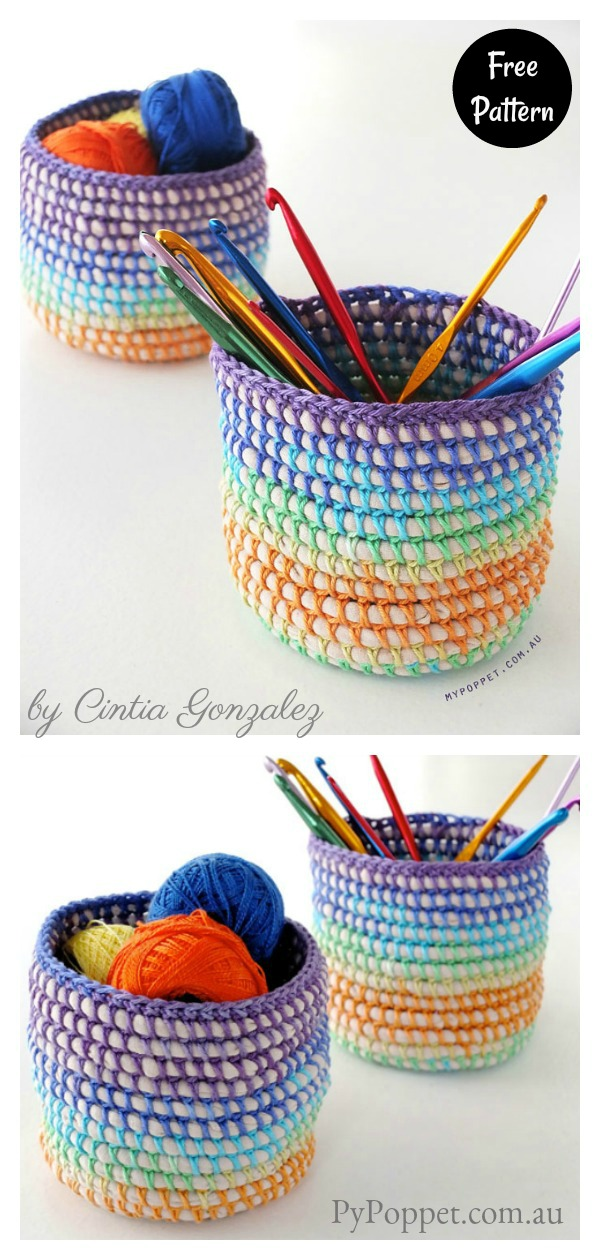 Coiled Rainbow Basket Free Crochet Pattern