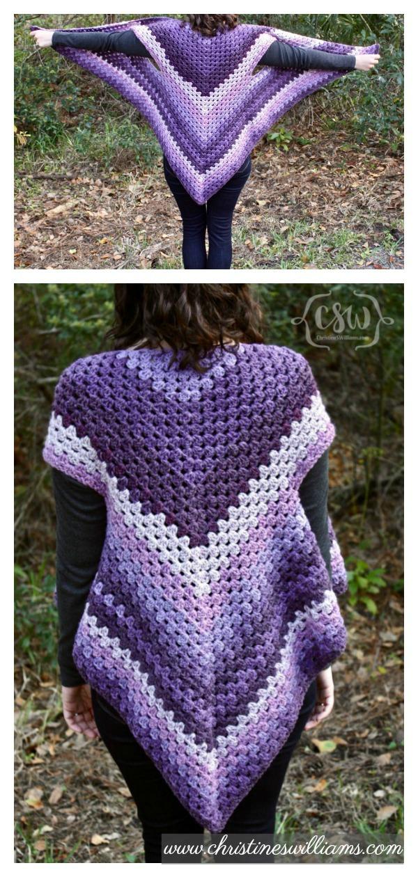 Crochet Striped Granny Stitch Caron Cakes Triangle Shawl