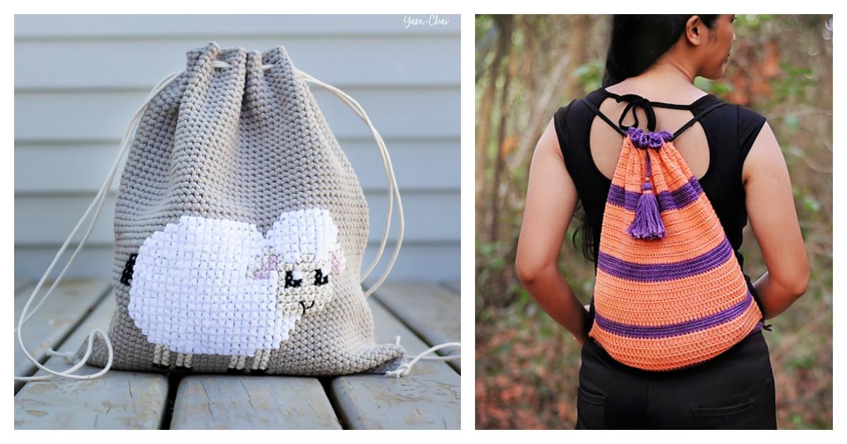 Drawstring Backpack Free Crochet Pattern