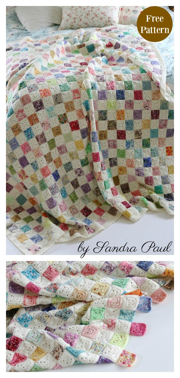 Granny Square Battenberg Blanket Free Crochet Pattern
