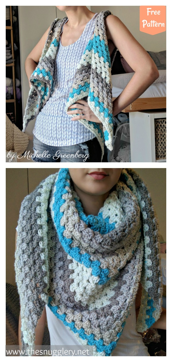 Granny Triangle Shawl Vest Free Crochet Pattern