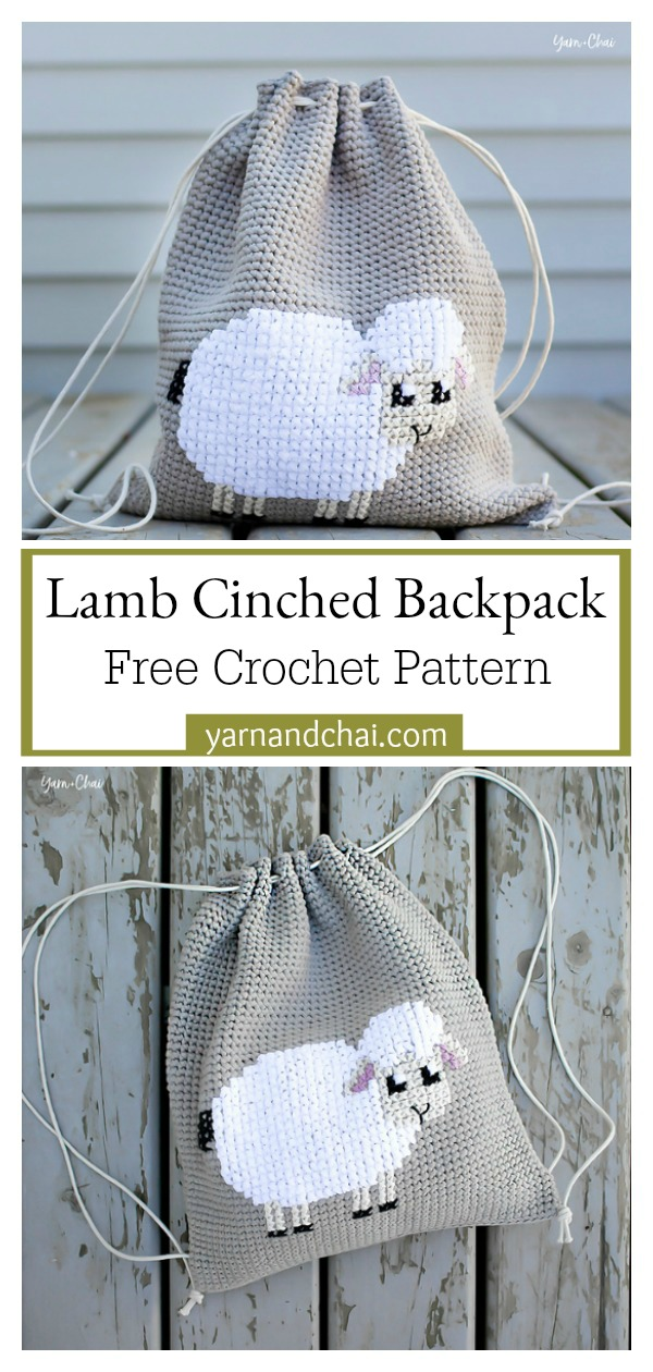 Lamb Cinched Drawstring Backpack Free Crochet Pattern