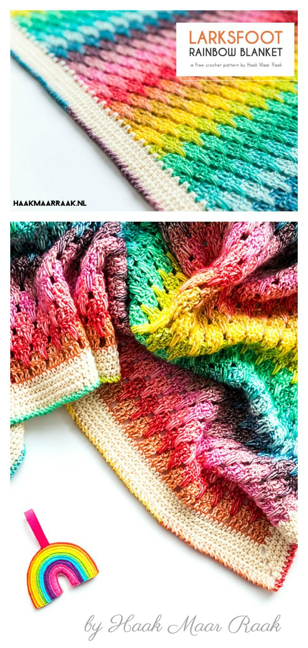 Little Larksfoot Rainbow Baby Blanket Free Crochet Pattern