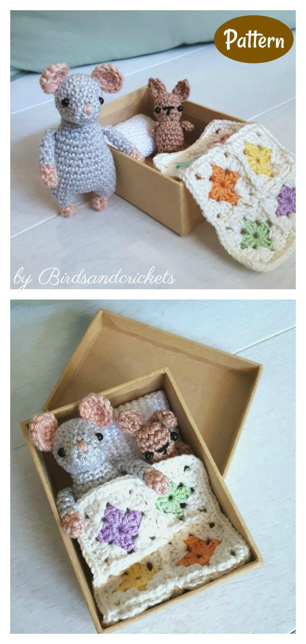 Mouse in a Box Playset Travel Toy Crochet Pattern