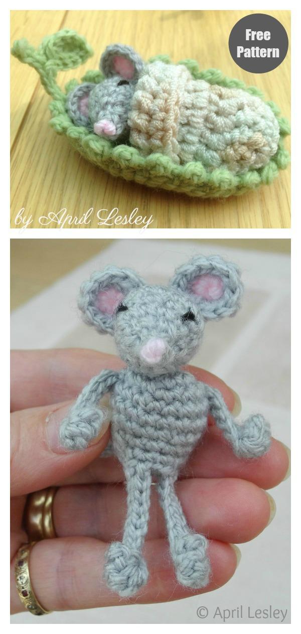 Mouse Sleepy Head Playset Free Crochet Pattern