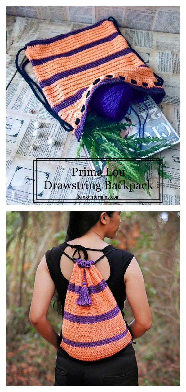 Prima Lou Drawstrings Backpack Free Crochet Pattern