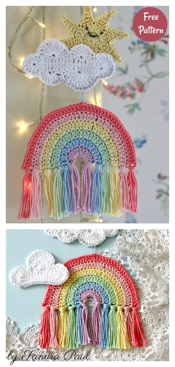 Rainbow Hanging Decoration Free Crochet Pattern