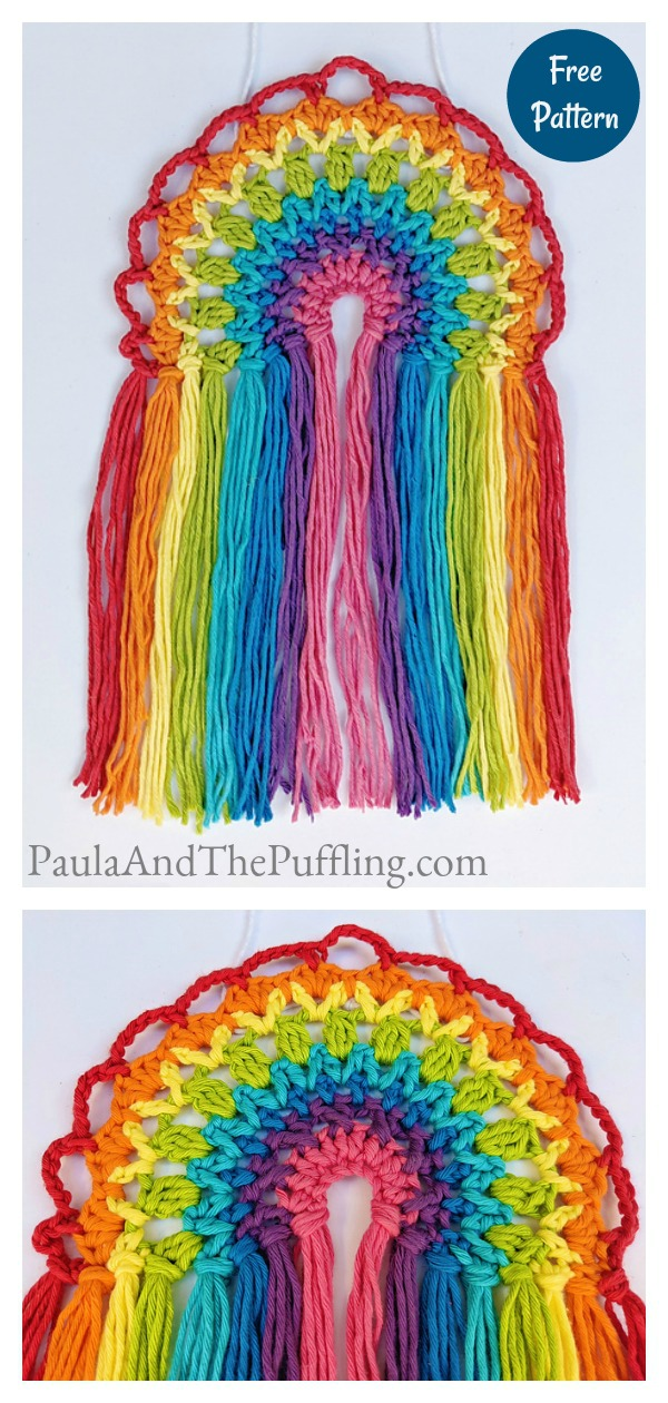 Rainbow Suncatcher Decoration Free Crochet Pattern